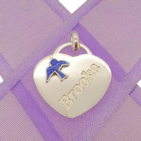 STERLING SILVER 18mm HEART BLUEBIRD CHARM PENDANT