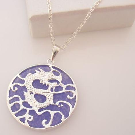 45cm STERLING SILVER 25mm PURPLE DRAGON CHARM NECKLACE