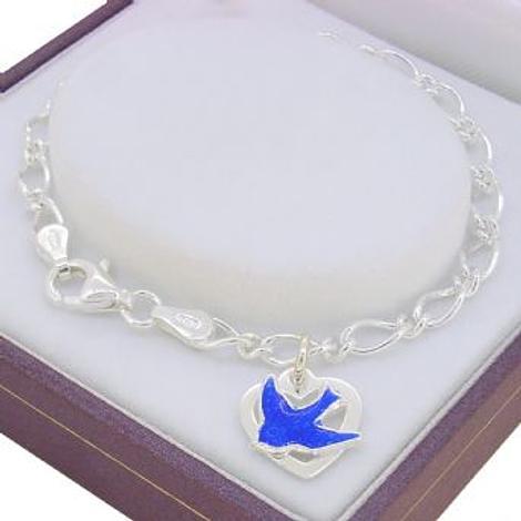 STERLING SILVER FIGARO CURB BLUEBIRD LOVE HEART CHARM BRACELET