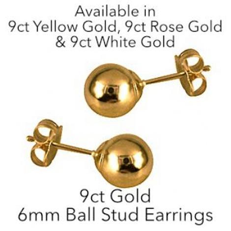 9CT GOLD 6mm BALL STUD DESIGN EARRINGS