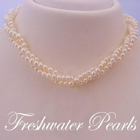 STERLING SILVER FRESHWATER PEARL 3 STRAND TWISTED NECKLACE
