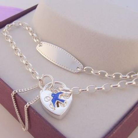 STERLING SILVER BLUEBIRD of HAPPINESS IDENTITY CHARM BELCHER PADLOCK BRACELET 19cm
