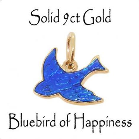 9CT YELLOW GOLD 10mm BLUEBIRD OF HAPPINESS CHARM PENDANT