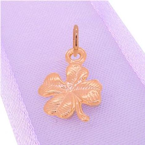 9CT ROSE GOLD GOOD LUCK LUCKY FOUR LEAF CLOVER CHARM PENDANT
