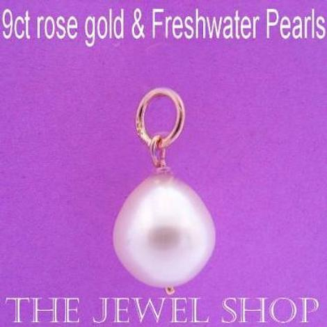 9CT ROSE GOLD NATURAL WHITE FRESHWATER PEARL BRIDE PENDANT