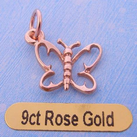 9CT ROSE GOLD 12mm BUTTERFLY CHARM