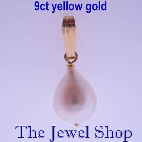 9CT YELLOW GOLD ANTIQUE STYLE 10mm x 12mm FRESHWATER TEARDROP PEARL PENDANT