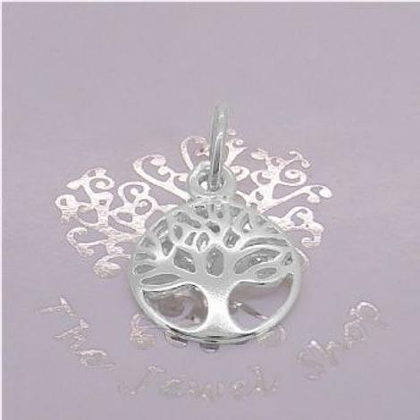 SOLID 9CT WHITE GOLD 12mm TREE OF LIFE CHARM PENDANT