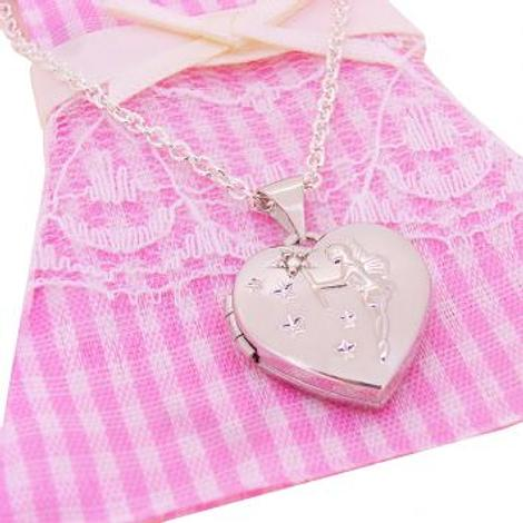 STERLING SILVER 15mm LOVE HEART TINKERBELL FAIRY WISHES PHOTO LOCKET