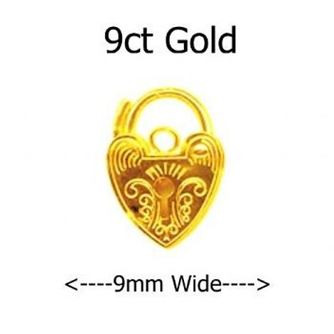 9CT YELLOW GOLD 9mm ENGRAVED HEART PADLOCK CLASP -FINDING1-9CT-PE9-9mm