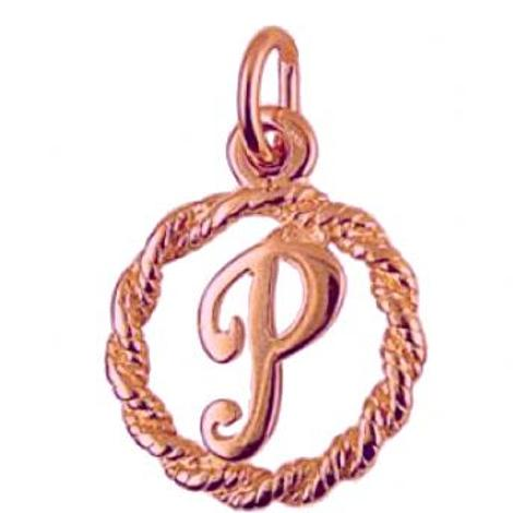 9CT ROSE GOLD CIRCLE ALPHABET INITIAL LETTER P CHARM