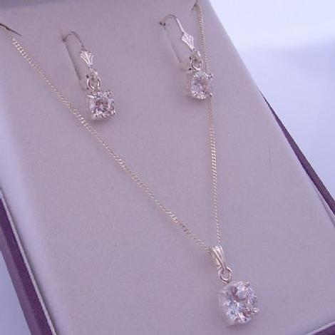 STERLING SILVER 8mm CZ CUBIC ZIRCONIA MANMADE DIAMOND CURB NECKLACE and MATCHING 6mm EARRINGS