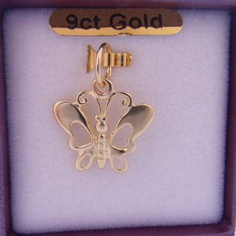 9CT YELLOW GOLD 15mm OPEN BUTTERFLY CHARM PENDANT