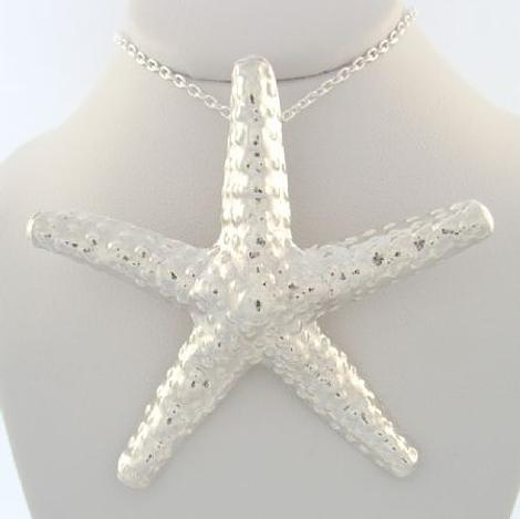 STERLING SILVER LARGE STARFISH NECKLACE CHARM PENDANT