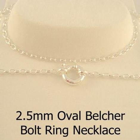 STERLING SILVER 2.5mm OVAL BELCHER CHAIN BOLT RING NECKLACE