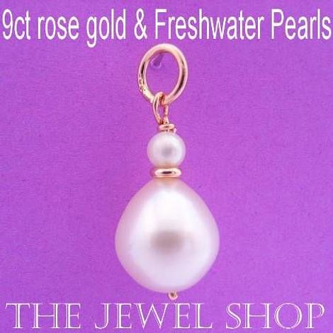 9CT ROSE GOLD NATURAL WHITE TEARDROP FRESHWATER PEARL PENDANT