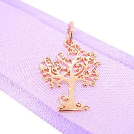 9CT ROSE GOLD 14mm x 20mm TREE OF LIFE CHARM PENDANT