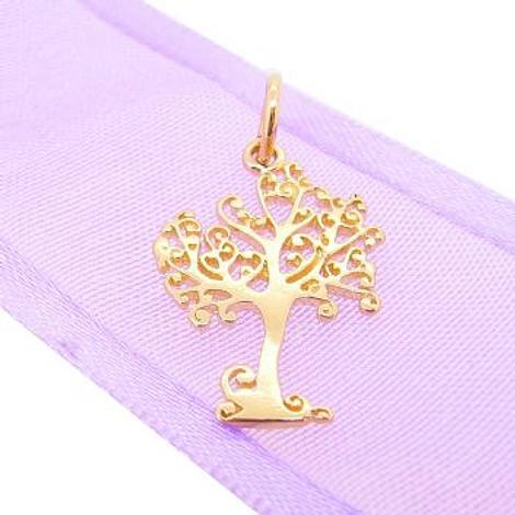 9CT GOLD 14mm x 20mm TREE OF LIFE CHARM PENDANT