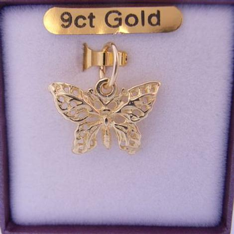 9CT YELLOW GOLD 17mm FILIGREE BUTTERFLY CHARM PENDANT