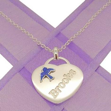 STERLING SILVER HEART BLUEBIRD CHARM NECKLACE