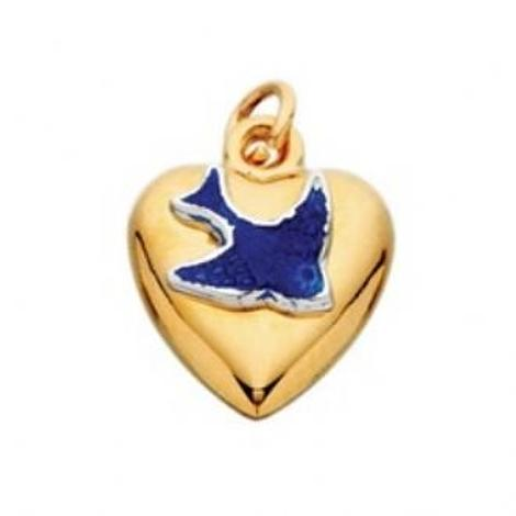9CT YELLOW GOLD 10mm PUFFED HEART BLUEBIRD CHARM PENDANT -1011BDC