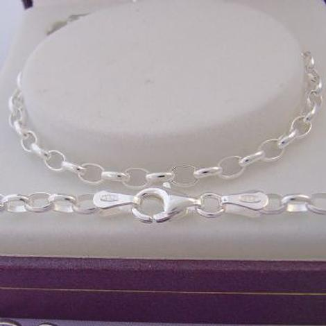 STERLING SILVER 3mm OVAL BELCHER NECKLACE ALL SIZES