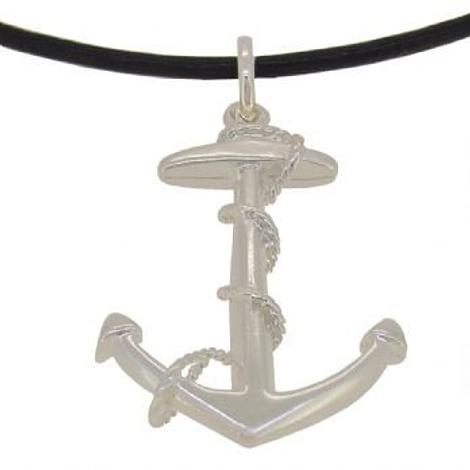 STERLING SILVER ANCHOR PENDANT BLACK LEATHER NECKLACE