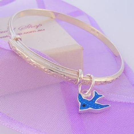 TEENAGER ADULT STERLING SILVER 57-63mm BLUEBIRD EXPANDABLE BANGLE