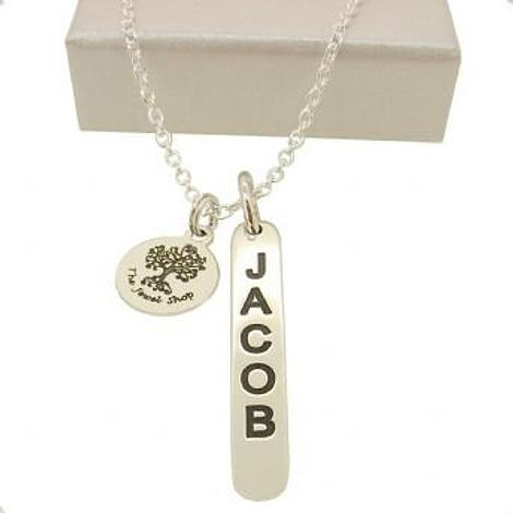 STERLING SILVER DROP TAG PERSONALISED NAME DESIGN NECKLACE