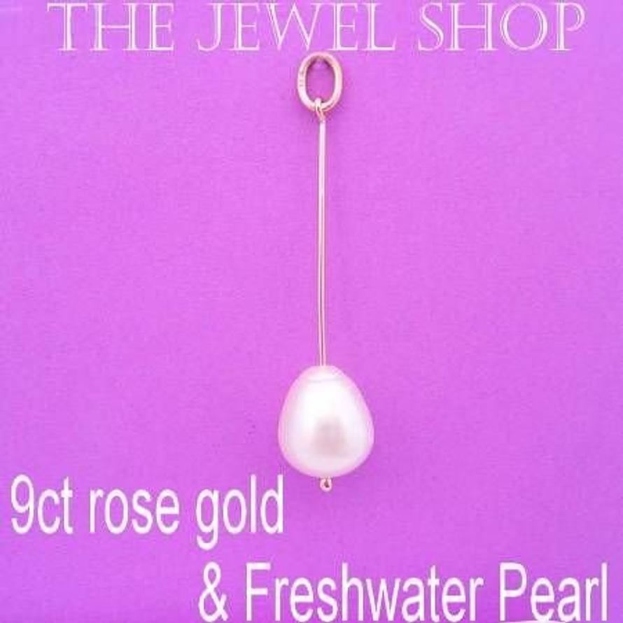 9CT ROSE GOLD NATURAL WHITE 10mm x 12mm TEARDROP FRESHWATER PEARL PENDANT