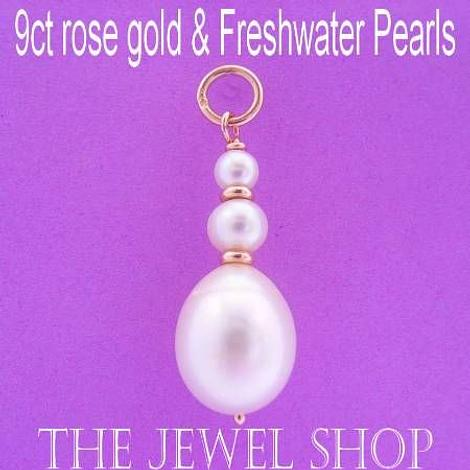 9CT ROSE GOLD NATURAL WHITE OVAL & ROUND FRESHWATER PEARL PENDANT