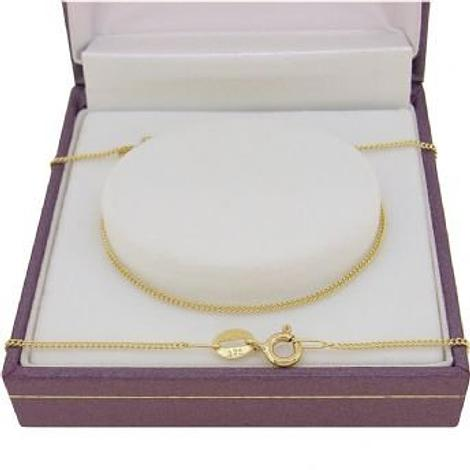 9CT GOLD 1mm FINE CURB NECKLACE CHAIN