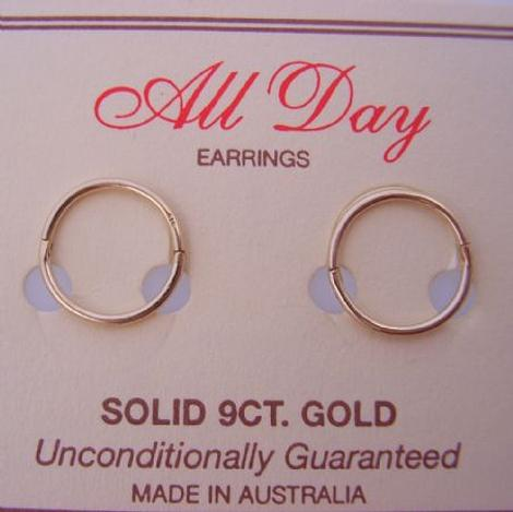 9CT YELLOW GOLD 12mm TRADITIONAL HINGED SLEEPER EARRINGS