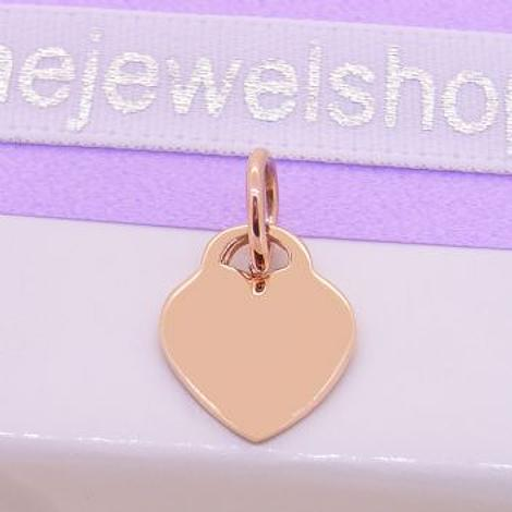 9CT ROSE GOLD 9.5mm x 12mm BABY LOVE HEART TAG CHARM