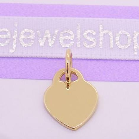 9CT YELLOW GOLD 9.5mm x 12mm BABY LOVE HEART TAG CHARM