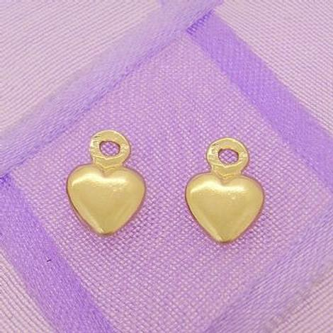 9CT GOLD 6mm HEART TWO LOVE HEARTS for SLEEPER EARRING CHARMS