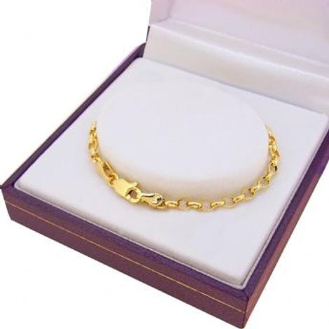 9CT YELLOW GOLD OVAL BELCHER LINK BRACELET All Sizes Available
