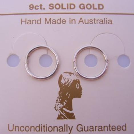 SOLID 9CT WHITE GOLD MEDIUM 12mm SLEEPER EARRINGS