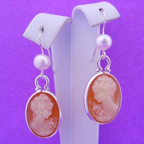 STERLING SILVER CAMEO PEARL EARRINGS