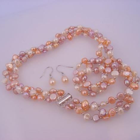 STERLING SILVER BALL & TWISTED NATURAL COLOR MIX FRESHWATER PEARL EARRING AND NECKLACE SET