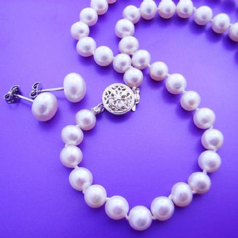 STERLING SILVER 6mm FRESHWATER PEARL EARRING AND NECKLACE SET