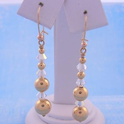 9CT GOLD BALL BEAD and SWAROVSKI CRYSTAL BRIDE HOOK EARRINGS