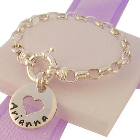 BABY CHILD 18mm CIRCLE HEART PERSONALISED NAME BOLT RING BRACELET