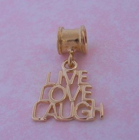 9CT GOLD THE JEWEL SHOP LIVE LOVE LAUGH BEAD CHARM