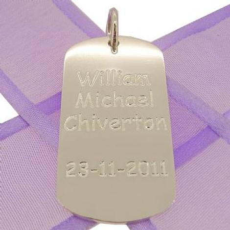 STERLING SILVER MENS and UNISEX 20mm x 39mm LARGE DOG TAG PERSONALISED NAME DESIGN -DT-20mm x 39mm