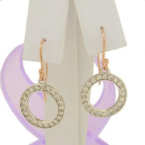 9CT ROSE GOLD AND WHITE CUBIC ZIRCONIA CIRCLE HOOK EARRINGS