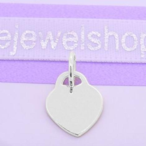9CT WHITE GOLD 9.5mm x 12mm BABY LOVE HEART TAG CHARM