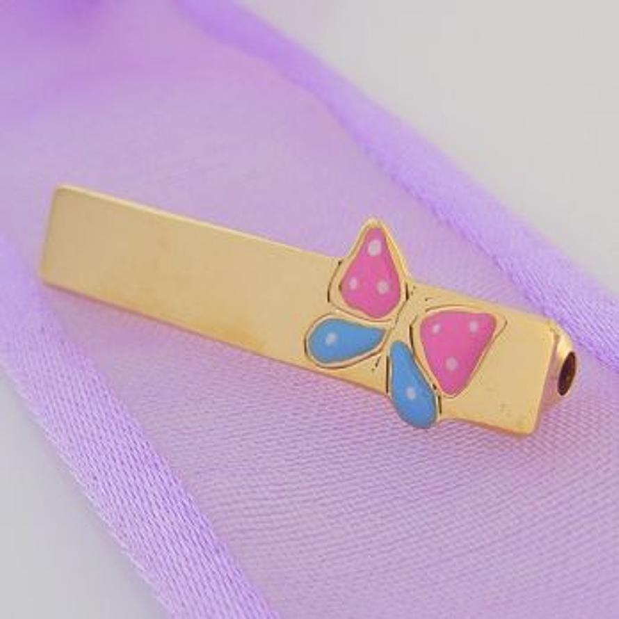 9CT YELLOW GOLD PINK BLUE BUTTERFLY BABY BROOCH
