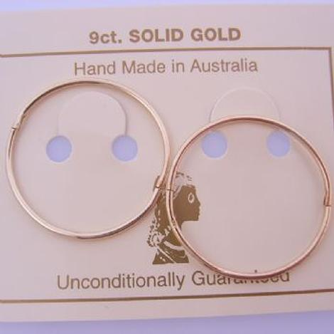 9CT YELLOW GOLD 25mm LARGE TRADITIONAL HINGED SLEEPER EARRINGS