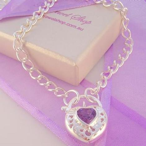 STERLING SILVER CURB AMETHYST HEART PADLOCK NECKLACE 45cm